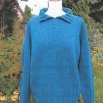Polo sweater strikket i Shetlandsuld. Foto: Marianne Porsborg