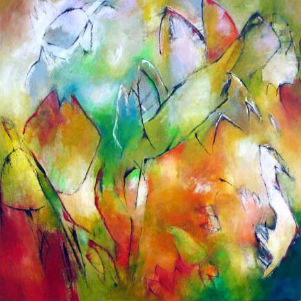 Min Muse - maleri af Lene Lundgaard, med digt af Hanne Kirk. Foto: Lene Lundgaard.