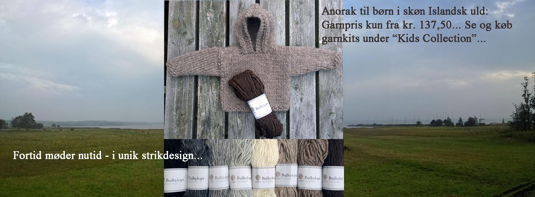 Anorak til børn - Hoodie 1 - i blød islandsk uldgarn: Bulkylopi. Design: Marianne Porsborg /Doggerland Design