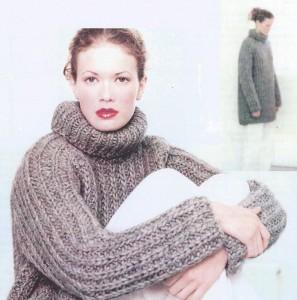 Stor sweateren over alle sweatre: skøn, tyk og halvlang rullekrave sweater i patent strik. Foto: Istex.
