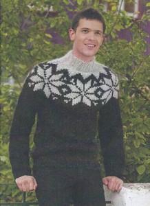 Islandsk sweater til herrer og damer. Garnkit pris fra kr. 425,75.