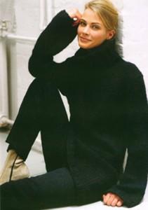 Smart rullekrave sweater med lidt vidde ærmer, til Bulkylopi. Foto: Istex.