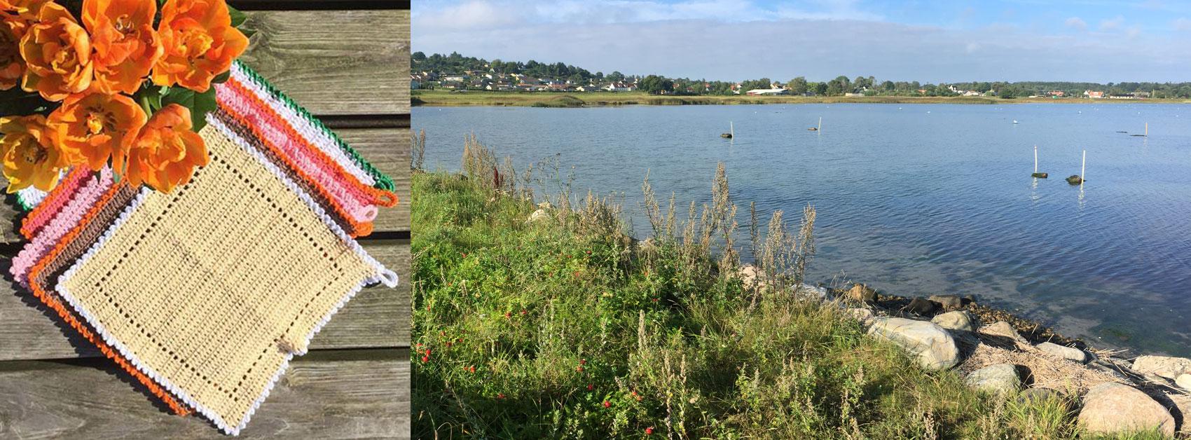 Blog om miljøvenlige hæklede og strikkede karklude i øko bomuldsgarn, om mikroplast og genbrug. Foto: Marianne Porsborg v/Kignæs og Roskilde Fjord