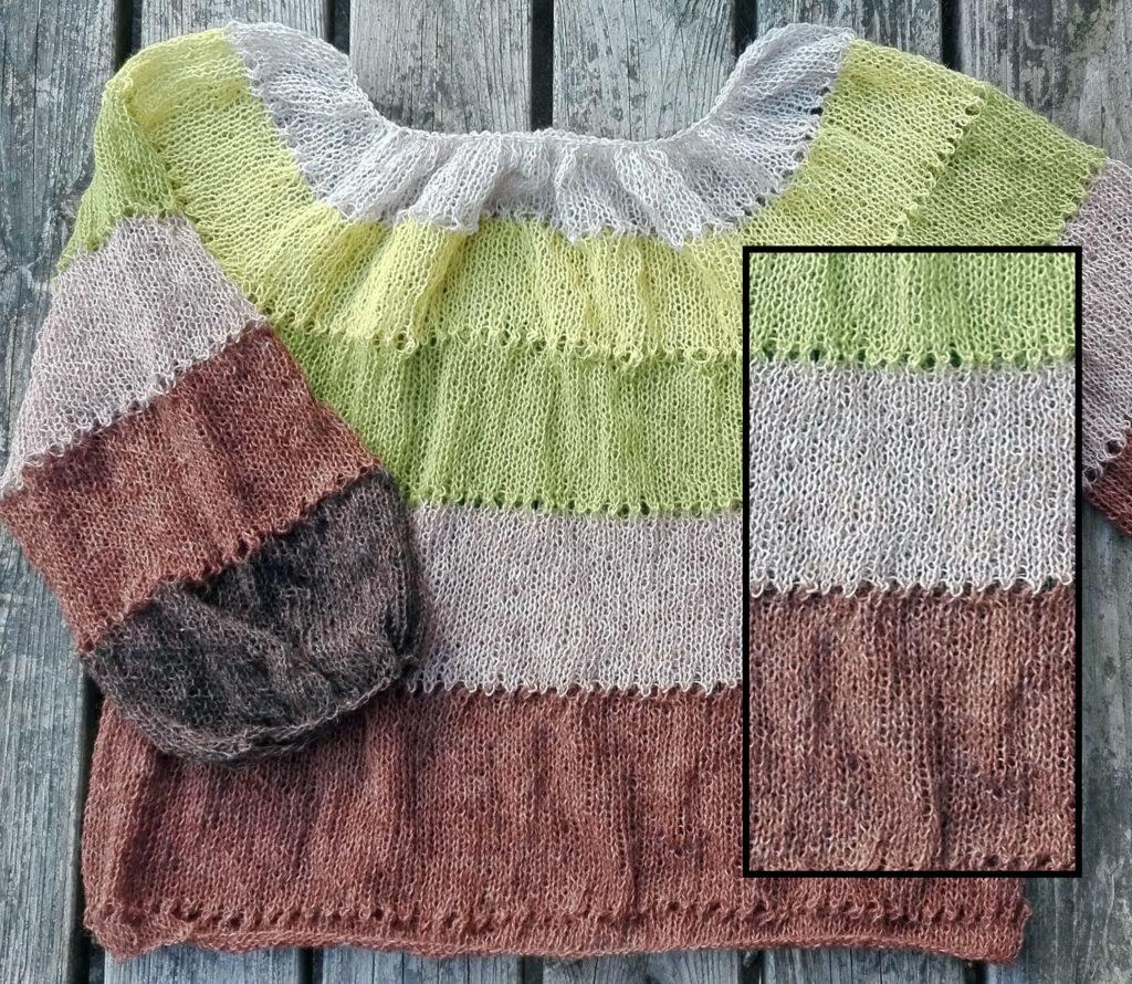 ASKA løsopskrift til strik af islandsk bluse i spindegarnet Einband fra Istex. Entrådet uldgarn. Model før vask.