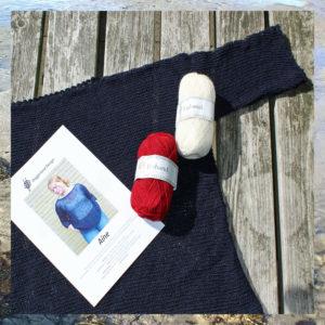 Garn og opskrift i pakke, kit til strik af model Aine fra Doggerland Design i islandsk uldgarn Einband