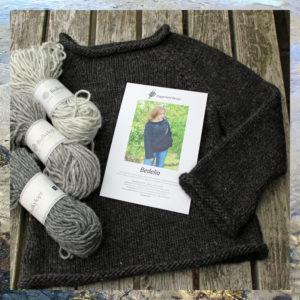 Bedelia strikkekit, pakke med garn og opskrift til strik af raglansweater