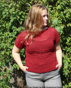 Strikkekit garn og opskrift til strik af bluse i alpaka og islandsk uld. Model Caitlin fra Doggerland Design