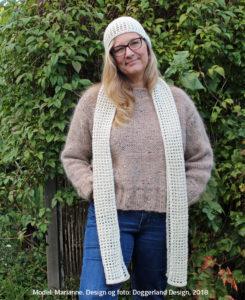 Hæklekit med garn og opskrift til hæklet hue og halstørklæde, model Clodagh, Doggerland Design