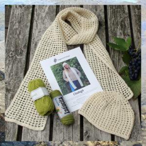 Garn og opskrift i hæklekit til hækling af hue og halstørklæde, Clodagh - Doggerland Design
