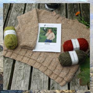 Garnkit, Alafosslopi uld og opskrift fra Doggerland Design, til strik af sweateren Delma