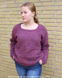 Strikkekit Enna, garn og opskrift til retro uldbluse som strikkes i islandsk uld Lettlopi. Doggerland Design