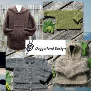 Børnestrik, garn og opskrift i pakke/kit. Strik til børn med garnkits fra Doggerland Design