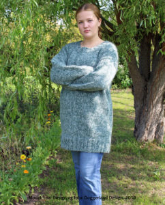 Pladegarn sweater, damestrik, garn og opskrift i kit til strik af lang sweater. Doggerland Design
